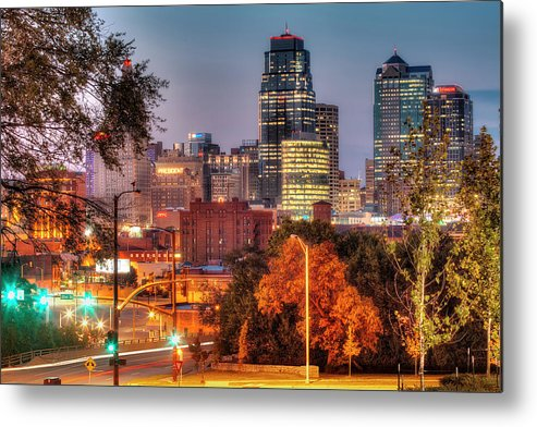 Clear Sky Metal Print featuring the photograph Kansas City Skyline At Sunset by Eric Bowers Photo