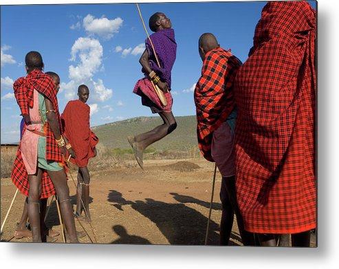 Young Men Metal Print featuring the photograph Kenya, Masai Mara, Masai Dancers by Peter Adams