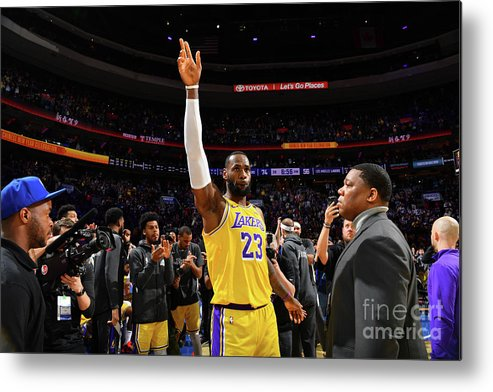 Thank You Metal Print featuring the photograph Kobe Bryant And Lebron James by Jesse D. Garrabrant