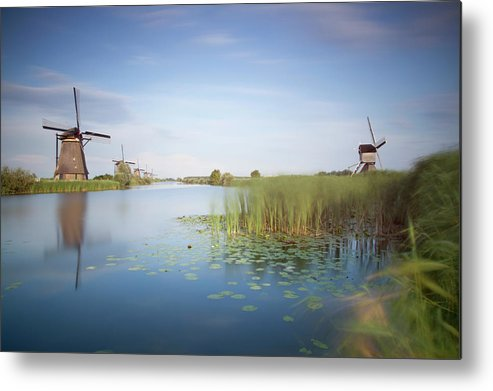 Tranquility Metal Print featuring the photograph Landscape With Windmills, Kinderdijk by Frank De Luyck