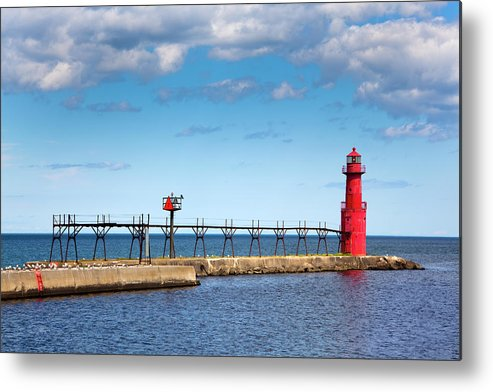 Lake Michigan Metal Print featuring the photograph Lighthouse And Pier On Lake Michigan by Jamesbrey