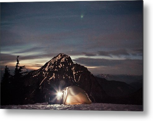 Camping Metal Print featuring the photograph Lit Tent At Night by Christopher Kimmel