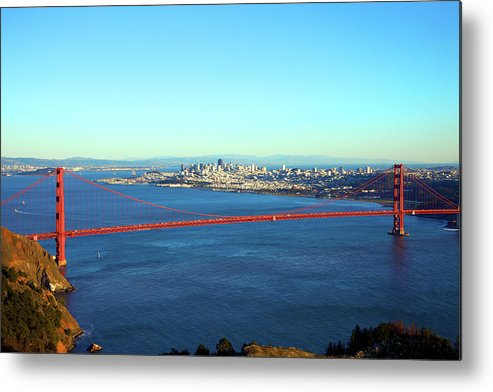 Downtown District Metal Print featuring the photograph Looking Down At The San Francisco Bridge by Ekash