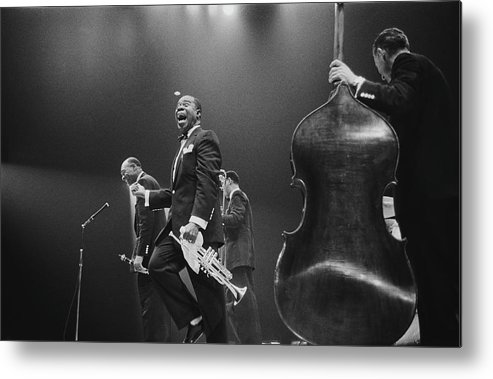 Singer Metal Print featuring the photograph Louis Armstrong On Stage by Haywood Magee