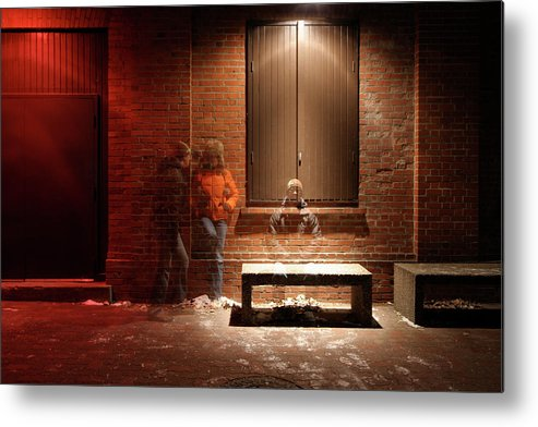 Mature Adult Metal Print featuring the photograph Man And Woman Leaning Against A Brick by Lori Andrews