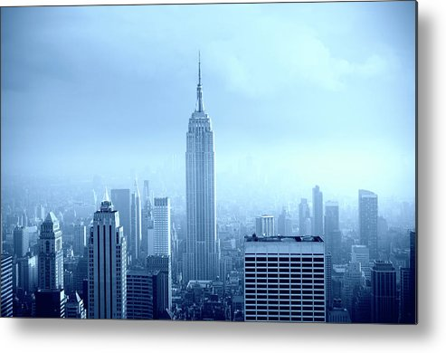 Lower Manhattan Metal Print featuring the photograph Manhattan Skyline In The Fog, Nyc. Blue by Lisa-blue