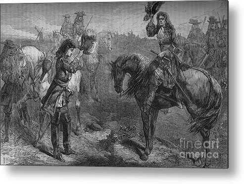 Horse Metal Print featuring the drawing Meeting Of William IIi And The Duke by Print Collector