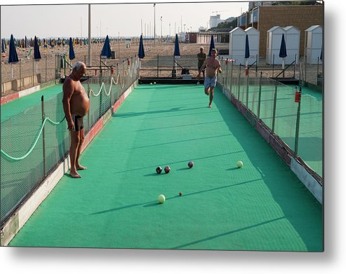 Mature Adult Metal Print featuring the photograph Men Play Boccia At Beach by Holger Leue
