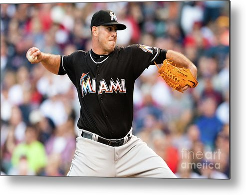 Three Quarter Length Metal Print featuring the photograph Miami Marlins V Cleveland Indians by Jason Miller