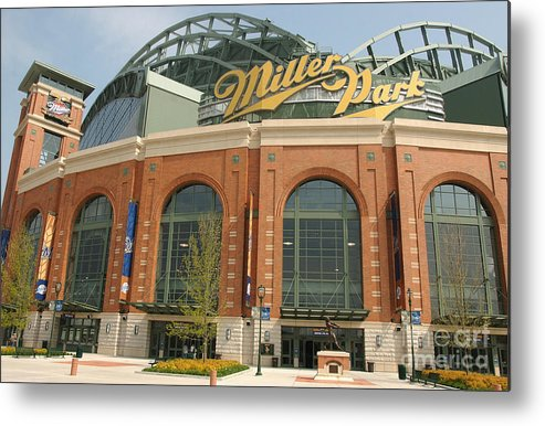 Wisconsin Metal Print featuring the photograph Miller Park Entrance by Jonathan Daniel