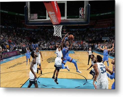 Nba Pro Basketball Metal Print featuring the photograph Minnesota Timberwolves V Oklahoma City by Zach Beeker