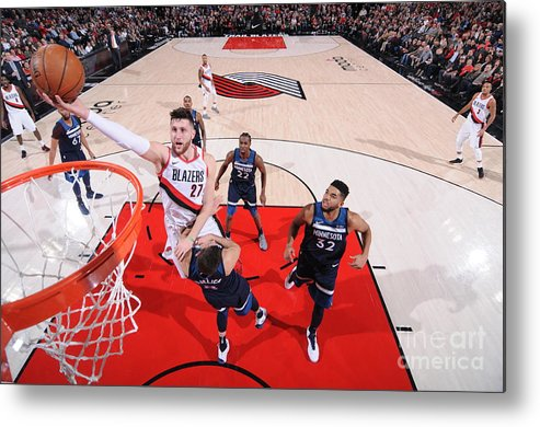 Jusuf Nurkić Metal Print featuring the photograph Minnesota Timberwolves V Portland Trail by Sam Forencich