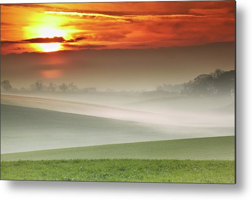 Tranquility Metal Print featuring the photograph Mist Over Landscape Of Rolling Hills by Andy Freer