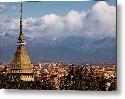 Built Structure Metal Print featuring the photograph Mole Antonelliana, Torino And Alps by Rodolfo Rodríguez Castro
