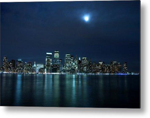 Lower Manhattan Metal Print featuring the photograph Moon Light Over New York City by Brandonj74