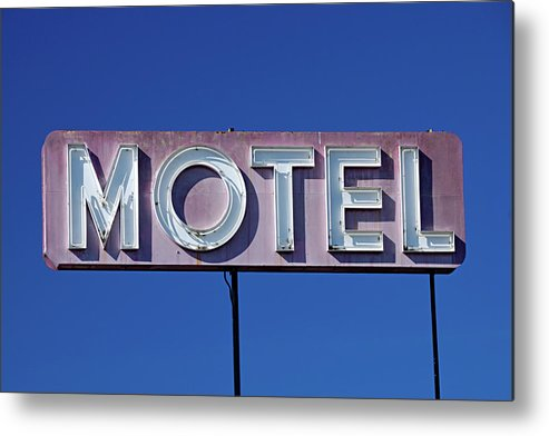 Clear Sky Metal Print featuring the photograph Motel Sign by Eyetwist / Kevin Balluff