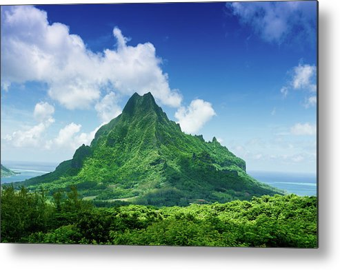 Scenics Metal Print featuring the photograph Mount Roto Nui Volcanic Mountain Moorea by Mlenny