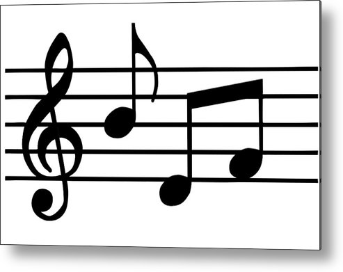 Sheet Music Metal Print featuring the digital art Music Notes In Black And White by Comstock