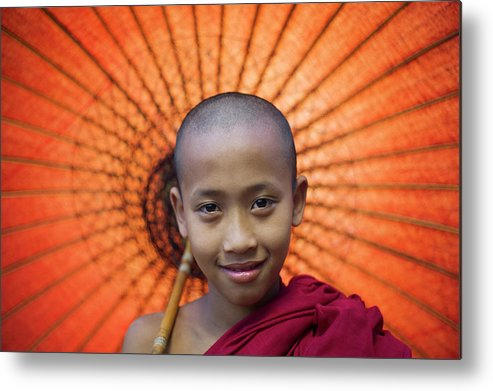 Child Metal Print featuring the photograph Myanmar, Bagan, Buddhist Young Monk by Martin Puddy