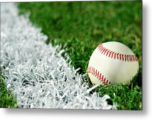 Grass Metal Print featuring the photograph New Baseball Along Foul Line by Cmannphoto