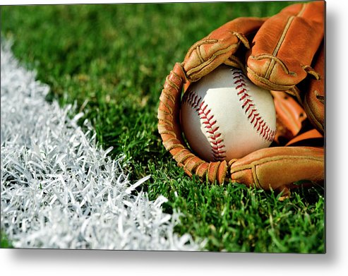 Grass Metal Print featuring the photograph New Baseball In Glove Along Foul Line by Cmannphoto