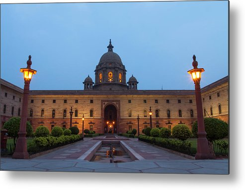New Delhi Metal Print featuring the photograph New Delhi President House At Night by Prognone