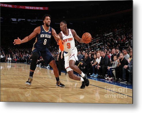 Nba Pro Basketball Metal Print featuring the photograph New Orleans Pelicans V New York Knicks by Nathaniel S. Butler