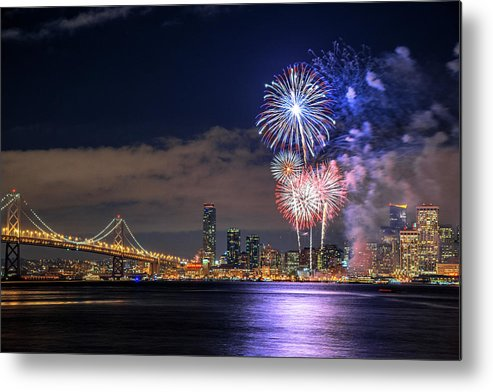 Firework Display Metal Print featuring the photograph New Year Fireworks by Piriya Photography