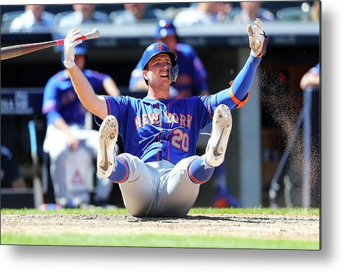 People Metal Print featuring the photograph New York Mets V New York Yankees - Game by Mike Stobe