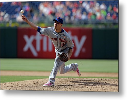 American League Baseball Metal Print featuring the photograph New York Mets V Philadelphia Phillies by Hunter Martin