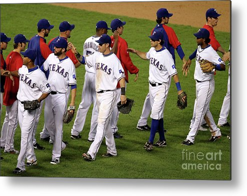 Playoffs Metal Print featuring the photograph New York Yankees V Texas Rangers, Game 2 by Ronald Martinez
