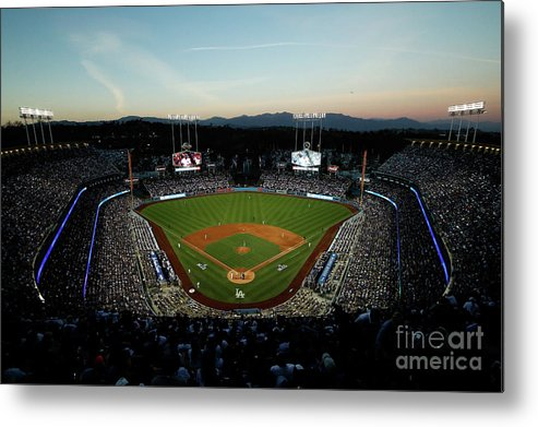 American League Baseball Metal Print featuring the photograph Nlcs - Chicago Cubs V Los Angeles by Josh Lefkowitz