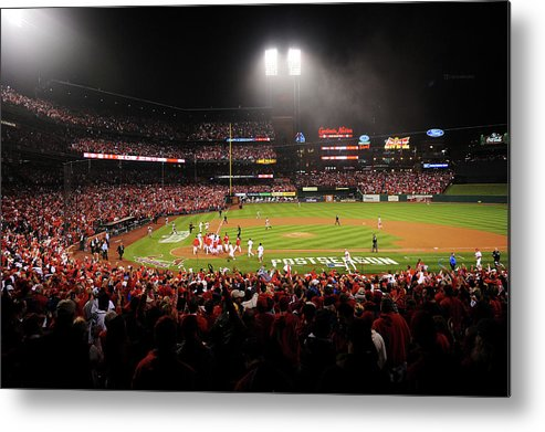 St. Louis Cardinals Metal Print featuring the photograph Nlcs - San Francisco Giants V St Louis by Michael Thomas