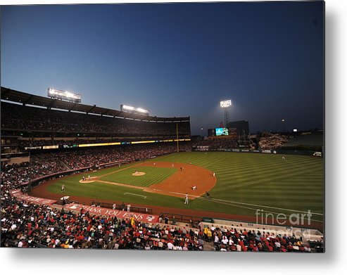American League Baseball Metal Print featuring the photograph Oakland Athletics V Los Angeles Angels by Rich Pilling