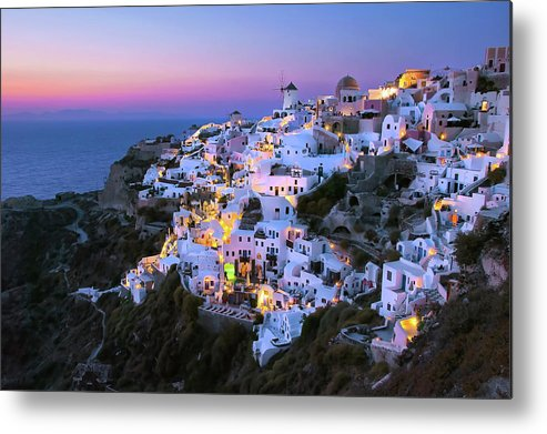 Greek Culture Metal Print featuring the photograph Oia Lights At Sunset by Greg Gibb Photography