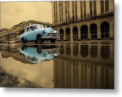 Arch Metal Print featuring the photograph Old Blue Car In Havana by 1001nights