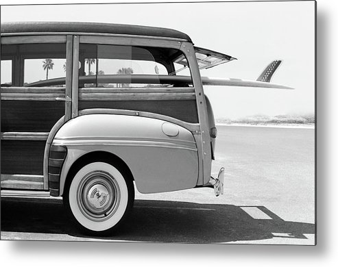 1950-1959 Metal Print featuring the photograph Old Woodie Station Wagon With Surfboard by Skodonnell