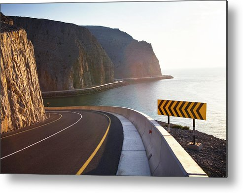 Curve Metal Print featuring the photograph Oman, Khasab, Road Round Mountain By by Christian Adams