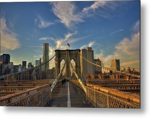 Built Structure Metal Print featuring the photograph On The Way To Manhattan by Alexander Matt Photography