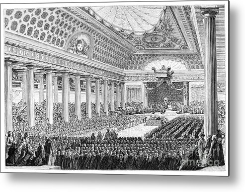 Engraving Metal Print featuring the drawing Opening Of The Estates General by Print Collector