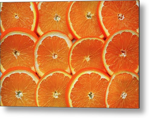 Orange Color Metal Print featuring the photograph Orange Fruit Slices by D. Sharon Pruitt Pink Sherbet Photography