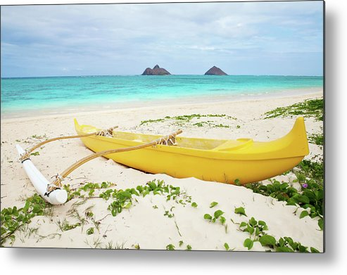 Scenics Metal Print featuring the photograph Outrigger Canoe Lanikai Beach by M Swiet Productions