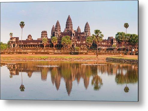 Hinduism Metal Print featuring the photograph Panorama Of Angkor Wat Cambodia Ruins by Leezsnow