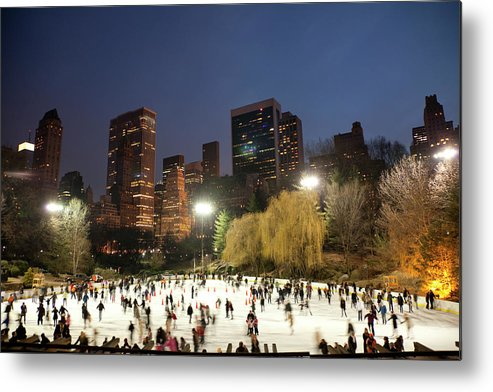 People Metal Print featuring the photograph Panorama Of People Ice Skating In by Studiokiet
