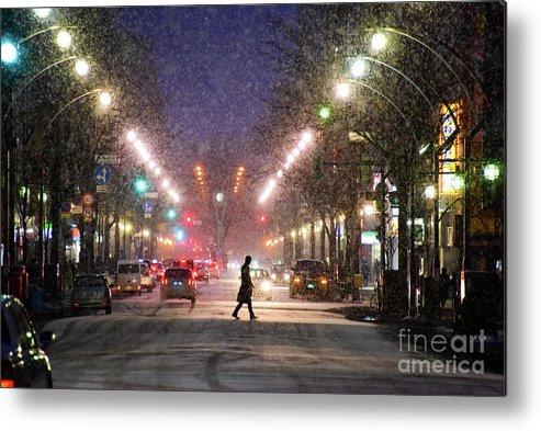Hokkaido Metal Print featuring the photograph Pedestrian Silhouette In Sapporo by Sergio Amiti