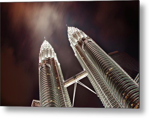Directly Below Metal Print featuring the photograph Petronas Towers by Smerindo schultzpax