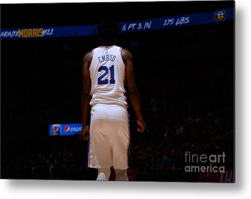 Nba Pro Basketball Metal Print featuring the photograph Philadelphia 76ers V Denver Nuggets by Bart Young