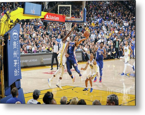 Nba Pro Basketball Metal Print featuring the photograph Philadelphia 76ers V Golden State by Andrew D. Bernstein