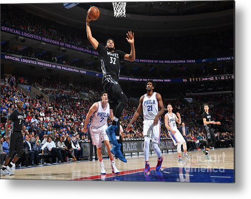 Nba Pro Basketball Metal Print featuring the photograph Philadelphia 76ers V Minnesota by Jesse D. Garrabrant