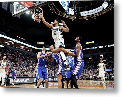 Nba Pro Basketball Metal Print featuring the photograph Philadelphia 76ers V Minnesota by Jordan Johnson